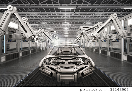 robot assembly line in car factory 55148902