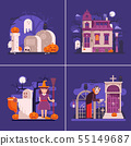 Flat Halloween Night Banners with Scary Scenes 55149687