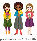 Three beautiful young women holding flower bouquet 55150307