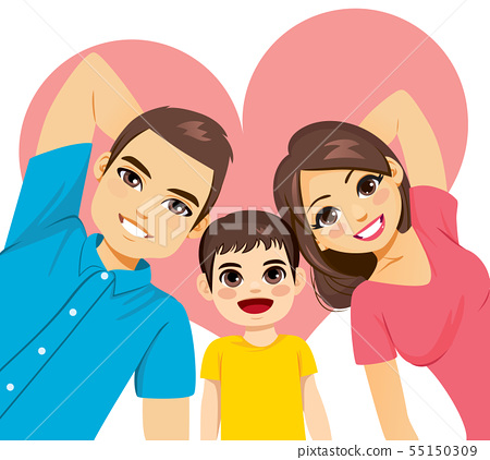 Cute family mom dad and son lying on the floor 55150309