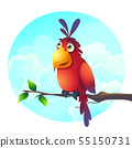 Vector cartoon illustration of a funny parrot on a 55150731