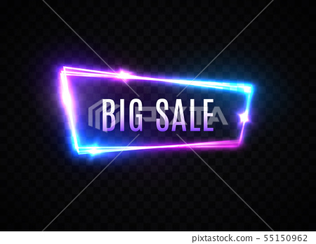 Big sale neon sign on transparent background. Electric glowing signboard for discount advertising 55150962