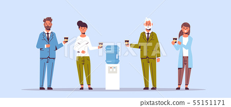 businesspeople office workers talking and drinking water while standing near cooler employees having 55151171