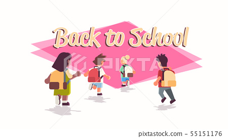 rear view school children group with backpacks running back to school education concept mix race 55151176