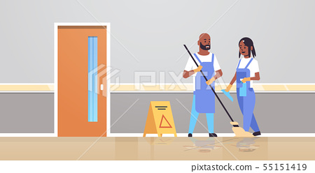 couple cleaners in uniform working together cleaning service concept african american man woman 55151419
