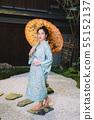 Lifestyle series: Woman holding paper umbrella 55152137