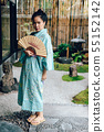 Lifestyle series: Asian woman holding paper fan 55152142