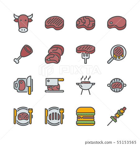 Beef related in colorline icon set. 55153565