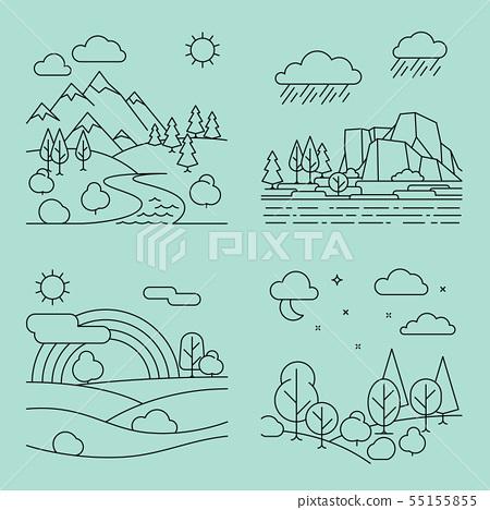 Nature outline landscapes vector 55155855