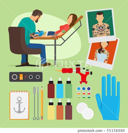 Tattoo studio vector illustration 55156080