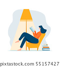 Young adult woman reading book relaxing sitting in chair under lamp and stack of books. Cartoon 55157427