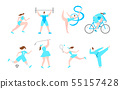 Women Professional Sport Cartoon Characters. Healthy Fitness Lifestyle. Girl Female Activities. Flat 55157428