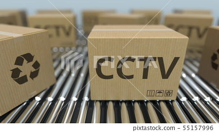Cartons with CCTV equipment on roller conveyors. 3D rendering 55157996