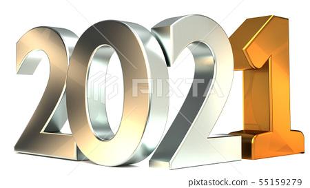 new year silver golden 2021 3d-illustration 55159279