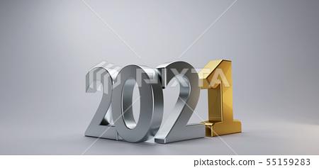 new year silver golden 2021 3d-illustration 55159283