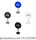 Mandatory road signs icon in cartoon,black style isolated on white background. Road signs symbol 55159380