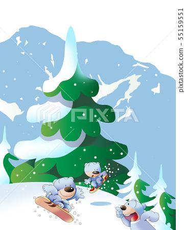 熊在雪山玩雪板運動 55159551