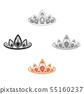 Diadem icon in cartoon,black style isolated on white background. Jewelry and accessories symbol 55160237