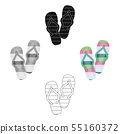 Summer rubber flip flops.Flip flops single icon in cartoon,black style vector symbol stock 55160372