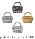 Straw basket for carrying fruits and vegetables in the village.Farm and gardening single icon in 55160407