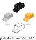 Cheddar.Different kinds of cheese single icon in cartoon,black style vector symbol stock 55161073