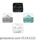 Canadian waterfall. Canada single icon in cartoon,black style vector symbol stock illustration web. 55161222