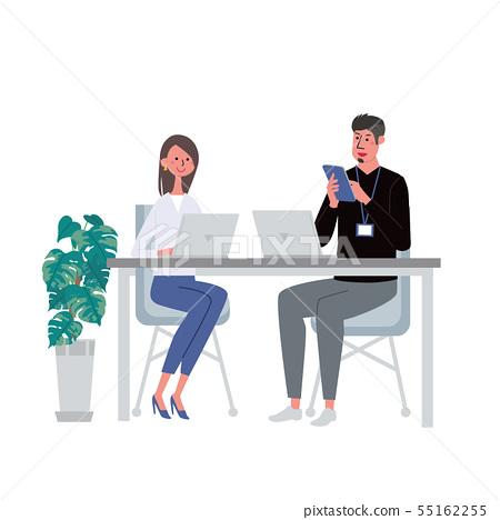 做工作男人和婦女例證的計算機片劑 55162255