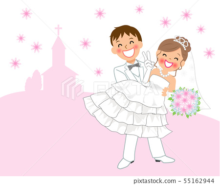 Bride And Groom Playing Hug At Wedding Pink Stock