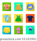 Vector design of fashion and garment logo. Set of fashion and cotton stock symbol for web. 55163991