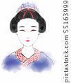 마이코 게이샤 여성 기모노 일본 먹 수채화 55163999