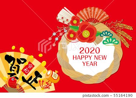 新年賀卡:兒童2020,新年2020,新年賀卡2020,鼠標,新年,水彩畫,Shimeji,兒童 55164190