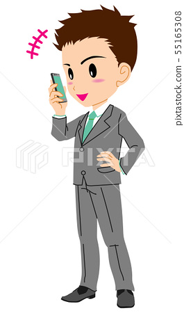 Mobile phone call suit man 55165308