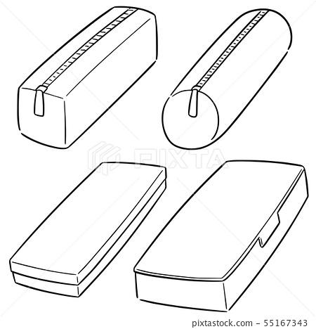 vector set of pencil case 55167343