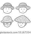 vector set of people with straw hat 55167354