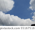 Blue sky and white cloud of the rainy season 55167516