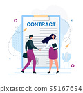 Man and Woman Shaking Hands Agree to Sign Contract 55167654