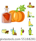 Vector illustration of bottle and glass icon. Set of bottle and agriculture vector icon for stock. 55168281