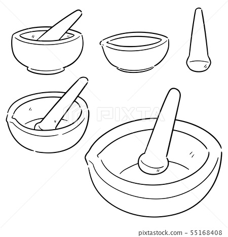 vector set of mortar and pestle 55168408