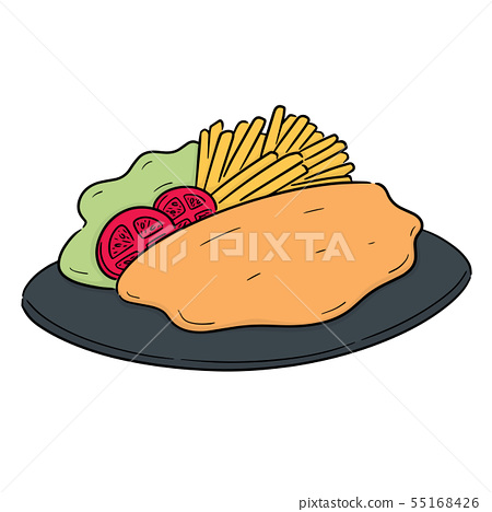 vector of fish and chips 55168426