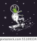 The alien skates on a skateboard. Vector illustration 55169334