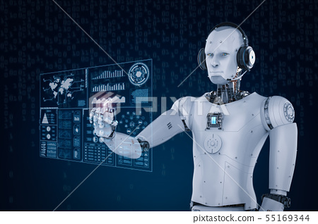 robot wearing headset and working with virtual 55169344