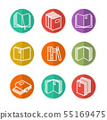Colorful line books icons 55169475