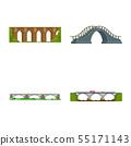 Vector design of bridgework and bridge icon. Collection of bridgework and landmark vector icon for 55171143