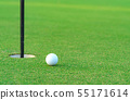 Golf ball on lip of cup at golf court 55171614