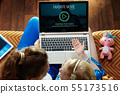 mother and child discussing while watching movie on laptop 55173516
