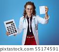 doctor woman with big calculator showing prescription 55174591