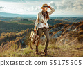 tourist woman on summer hiking in Tuscany having walking tour 55175505