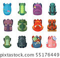 Backpacks for school and hiking. Vector illustration in flat style 55176449