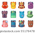 Different schoolbags in cartoon style isolate on white background. Vector education illustrations 55176478