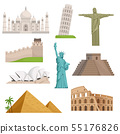 Different historical famous landmarks. World places. Vector illustrations 55176826